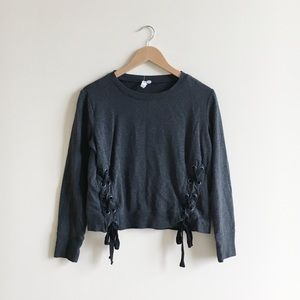 Cable & Gauge Lace Up Black Cropped Sweater